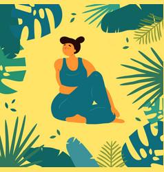 Woman in upavistha parivrttasana asana yoga pose vector