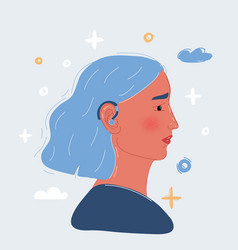 Woman wearing a hearing aid vector