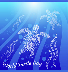 world turtle day water turtles swim up vector image