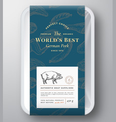 Worlds best pork abstract plastic tray vector