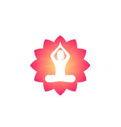 yoga logo meditating girl in lotus position vector image