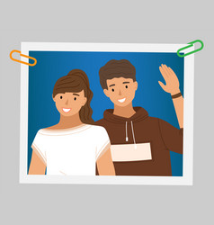 young boy is waving his hand male character vector image