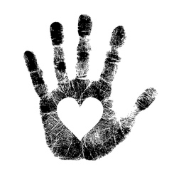Hand print with heart vector image vector image