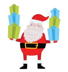 Santa Claus with gifts and presents vector image