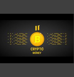 crypto currency banner golden bitcoin digital web vector image vector image