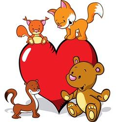 cute animals cartoon with valentines heart - fox vector image