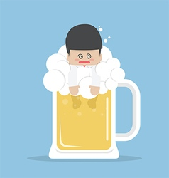 Drunk businessman in beer mug vector image