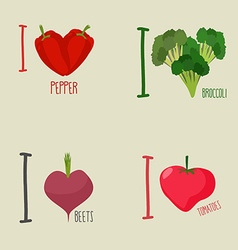 I love vegetables broccoli and beetroot Symbol vector image
