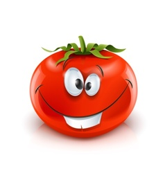 smiling red ripe tomato vector image vector image