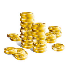 stack of shiny gold coins vector image