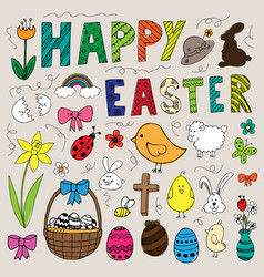 colorful hand drawn easter doodles set vector image vector image