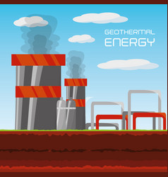 flat concept geothermal generator energy vector image