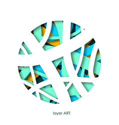 paper art cut in a circle layers colorful vector image