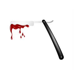 Razor in black and silver design with bloody blade vector