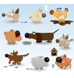 cartoon dogs set vector image