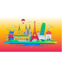 european landmarks flat design composition vector image vector image