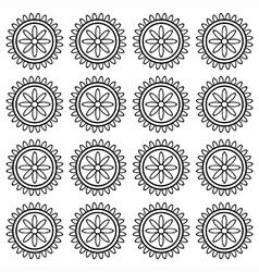 Flower wheel block pattern vector image vector image