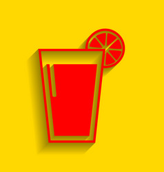 glass of juice icons red icon with soft vector image vector image