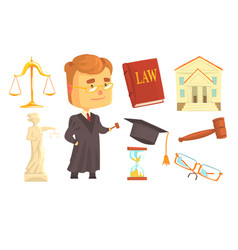judge and attributes of judicial activity set for vector image