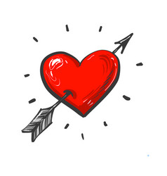 Amour symbol with heart and arrow hand drawn icon vector