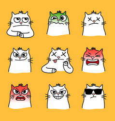 Angry cats smiles vector