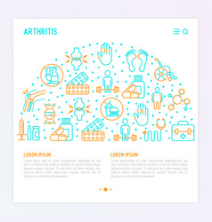 Arthritis concept in circle with thin line icons vector