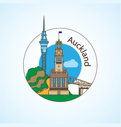 auckland new zeland detailed silhouette vector image