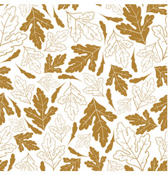 Autumn seamless pattern with golden leaves isolate vector