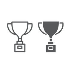 award cup line and glyph icon win and prize vector image