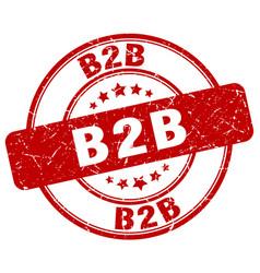 B2b red grunge stamp vector