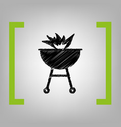 Barbecue with fire sign black scribble vector