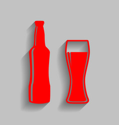 beer bottle sign red icon with soft vector image
