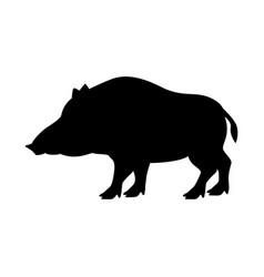 black silhouette wild boar vector image
