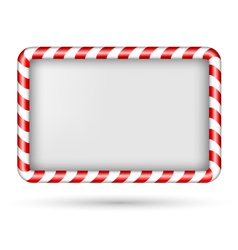 Blank candy cane frame isolated on white vector