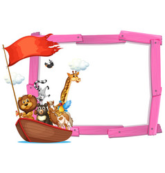 Border template with cute animals on boat vector