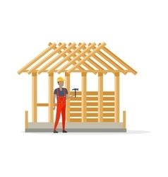 Builder in Helmet and Robe near Constructing House vector