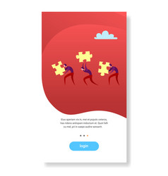 business people carry puzzle parts teamwork vector image