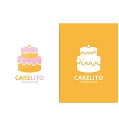cake logo combination pie symbol or icon vector image