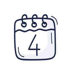 calendar icon with number july 4 vector image