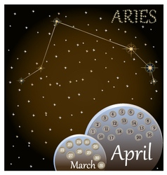 Calendar of the zodiac sign Aries vector