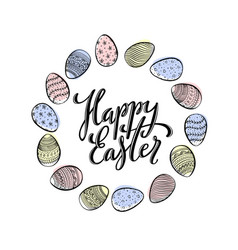 card template for happy easter with hand drawn vector image