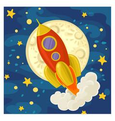 Cartoon rocket flying on space vector