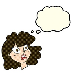 Cartoon shocked female face with thought bubble vector