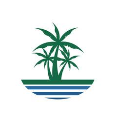 center palm tree beach view design vector image