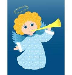 Christmas angel plays vector image