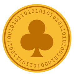 clubs suit digital coin vector image