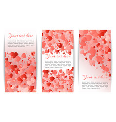 collection of banners with hearts confetti vector image
