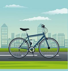 color background city landscape with bicycle vector image