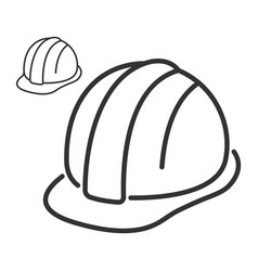 Construction safety helmet line style icon vector
