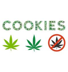 Cookies label composition of marijuana vector